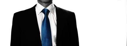 供以人员在白色背景的商人隔绝与蓝色领带 免版税库存图片