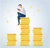 供以人员在硬币的阅读书,企业概念传染媒介 免版税库存图片