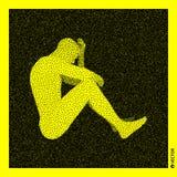 供以人员坐 3D人体模型 黑和黄色粒状设计 被点刻的传染媒介例证 向量例证