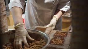 供以人员工作在巧克力工厂商店里面 股票录像