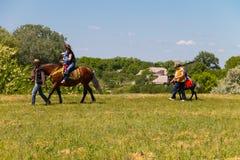 供以人员带领与少妇和她的儿童乘驾的一匹马 库存照片
