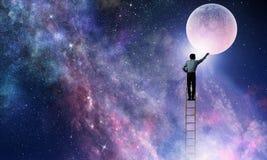供以人员得到月亮 混合画法 库存照片