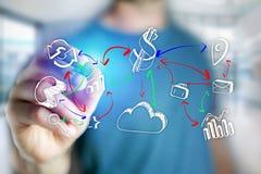供以人员手图画在一个未来派接口的企业象- techn 图库摄影