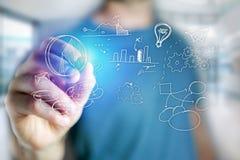 供以人员手图画在一个未来派接口的企业象- techn 库存照片