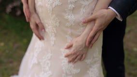 供以人员抚摸妇女` s手,特写镜头的` s手 影视素材