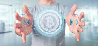 供以人员拿着在圈子3d翻译的技术Bitcoin象 库存照片