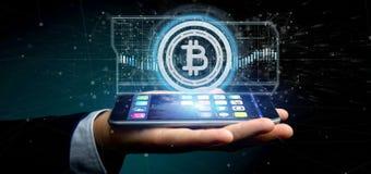 供以人员拿着在圈子3d翻译的技术Bitcoin象 免版税图库摄影