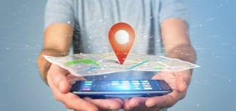 供以人员拿着在地图的一个3d翻译别针持有人 免版税库存照片