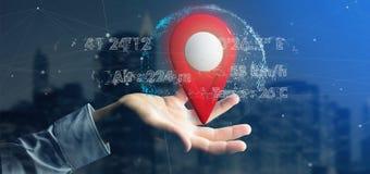 供以人员拿着在地球的一个3d翻译别针持有人与座标 免版税库存图片