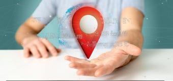 供以人员拿着在地球的一个3d翻译别针持有人与座标 库存照片