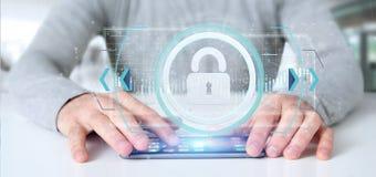 供以人员拿着挂锁网安全概念3d翻译 库存图片