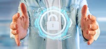 供以人员拿着挂锁网安全概念3d翻译 免版税图库摄影
