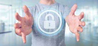 供以人员拿着挂锁网安全概念3d翻译 图库摄影