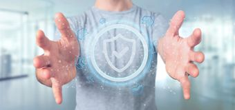 供以人员拿着盾网安全概念3d翻译 免版税库存图片
