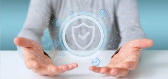 供以人员拿着盾网安全概念3d翻译 免版税库存照片