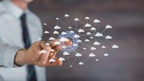 供以人员接触在触摸屏上的一个云彩网络 免版税图库摄影
