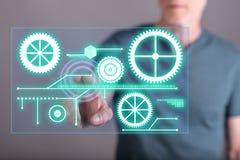 供以人员接触在触摸屏上的一个数字技术概念 免版税库存图片