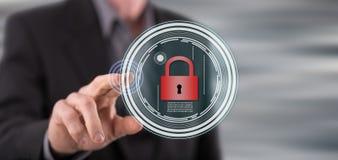 供以人员接触在触摸屏上的一个数据保密概念 库存照片