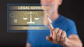 供以人员接触在触摸屏上的一个法律建议概念 库存照片