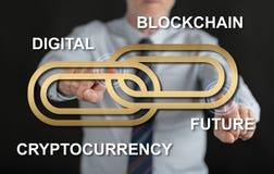 供以人员接触在触摸屏上的一个blockchain概念 免版税库存图片