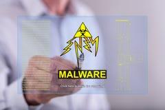 供以人员接触在触摸屏上的一个malware概念 免版税图库摄影