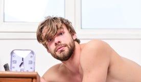 供以人员有不剃须的被弄乱的头发警惕的面孔休息早晨好 在闹钟附近的人不剃须的被放置的床 棍子日程表 图库摄影