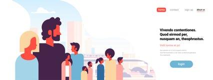 供以人员沟通在城市摩天大楼视图都市风景背景画象平的水平的拷贝空间的妇女夫妇 库存例证
