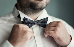 供以人员蝴蝶衣裳,投入在蝶形领结的商人 衣服,韩 库存照片