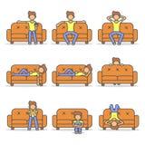 供以人员说谎,放松,懒惰和可怕在长沙发在屋子平的样式集合里 库存例证