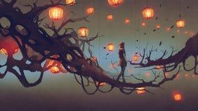 供以人员走在与红色灯笼的树枝 皇族释放例证