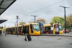 供以人员走带着在火车站前面的手提箱 图库摄影