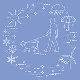 供以人员遛在一条皮带的一条狗在所有天气 库存例证