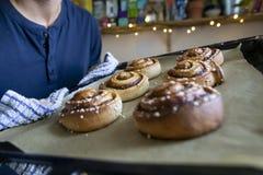 供以人员采取桂香小圆面包trey在烤箱外面 库存照片