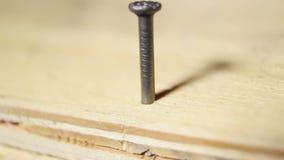 供以人员锤击前个钉子,顺利地被完成的工作,成就的标志 影视素材