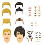 供以人员面孔情感建设者零件眼睛,鼻子,嘴唇,胡子,髭具体化创作者传染媒介漫画人物创作 库存例证