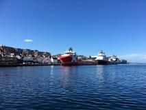 供应船在斯塔万格港口,挪威 库存图片