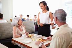 供应资深夫妇早餐的女服务员在旅馆餐馆 库存照片