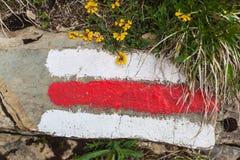 供徒步旅行的小道的标志在瑞士阿尔卑斯 免版税库存照片