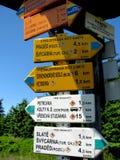 供徒步旅行的小道路标  免版税库存图片