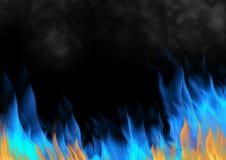 供气灼烧的火火焰在黑背景的 库存例证