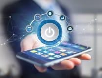 供给与在未来派app的按钮标志动力显示的计算机 免版税库存照片