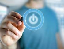 供给在一个未来派接口显示的按钮标志- Techno动力 免版税库存图片
