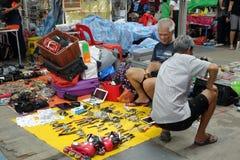 供营商卖各种各样中间人材料 免版税库存照片