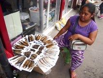 供营商在安蒂波洛市卖沿一条街道的干和抽烟的鱼,菲律宾 库存图片