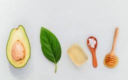 供选择的护肤和洗刷新鲜的鲕梨,叶子, sa海 库存图片