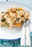 供食与菜和鸡的煎蛋卷 库存图片