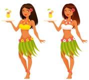 供食果汁饮料的夏威夷女服务员 免版税库存照片