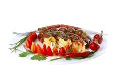 供食的烤碎肉卷子干酪 免版税库存图片