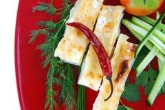 供食的烤碎肉卷子干酪 库存照片