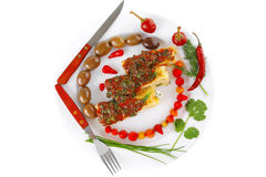 供食的烤碎肉卷子胡椒 免版税库存图片